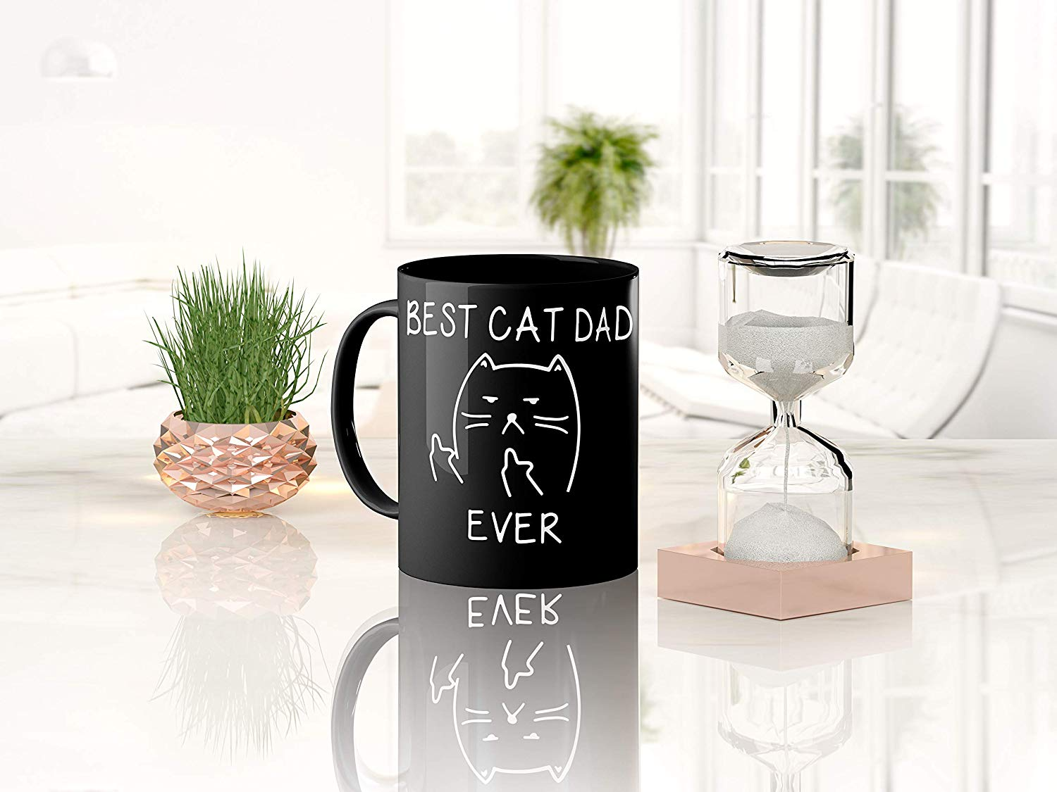Best Cat Dad EverFunny Cat Lover Gifts Funny Middle Finger Black Coffee MugUnique Birthday Gift For Dad B079FVKRCM 7
