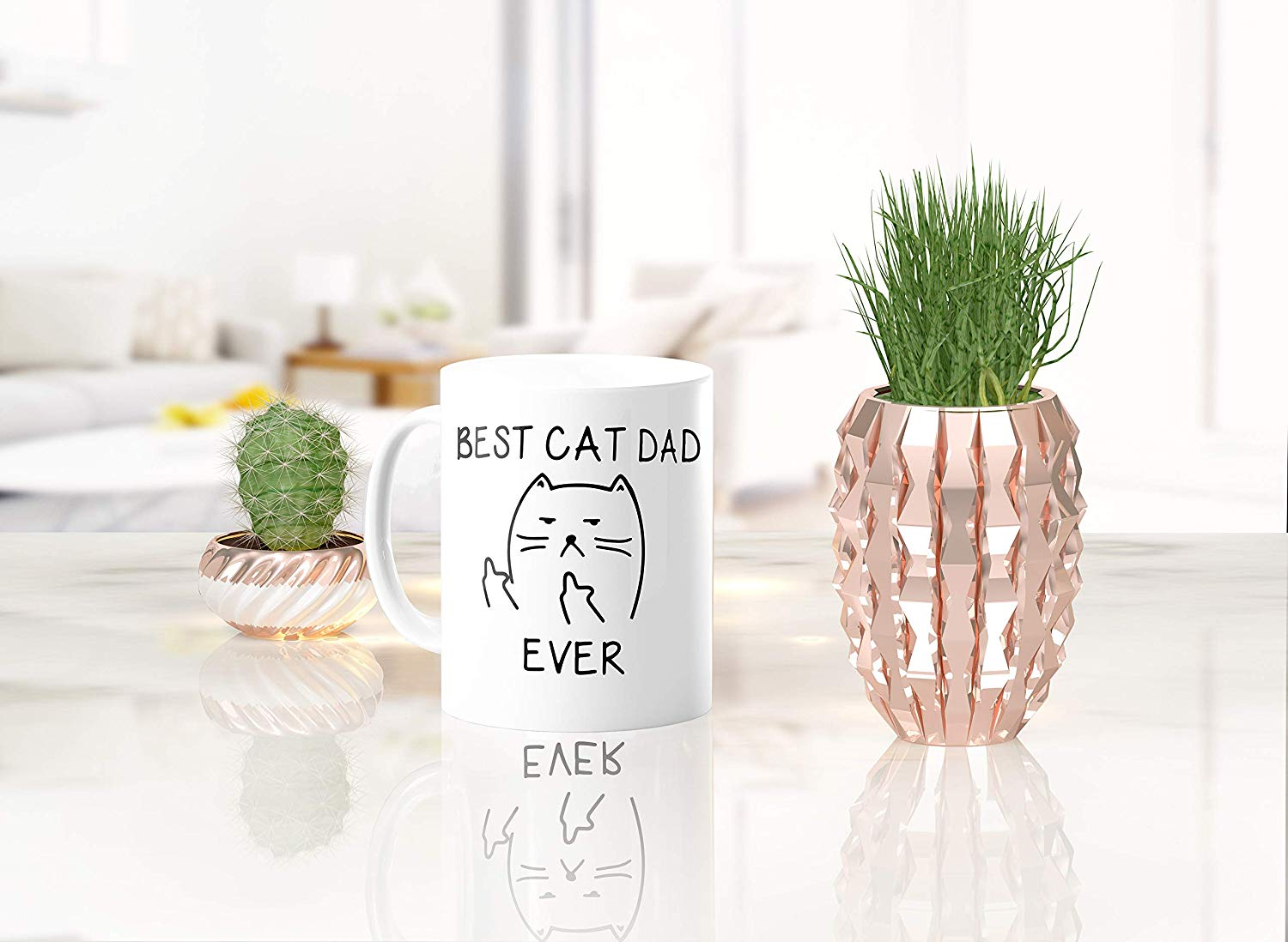 Best Cat Dad EverFunny Cat Lover Gifts Funny Middle Finger Coffee MugUnique Birthday Gift For Dad B079FZ3DHS 4