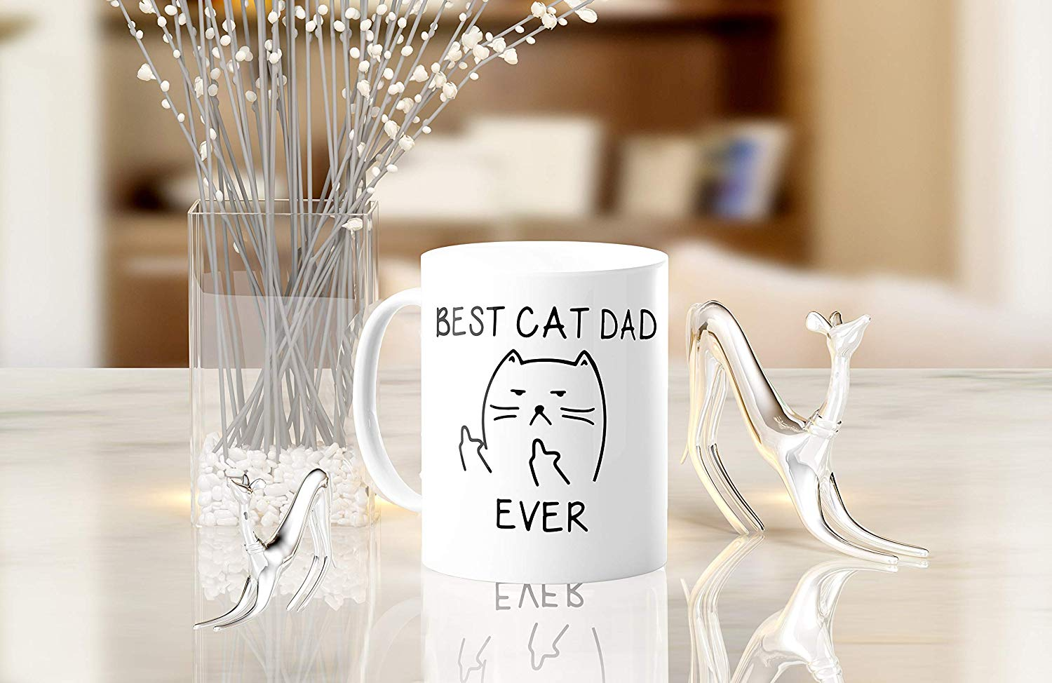 Best Cat Dad EverFunny Cat Lover Gifts Funny Middle Finger Coffee MugUnique Birthday Gift For Dad B079FZ3DHS 6