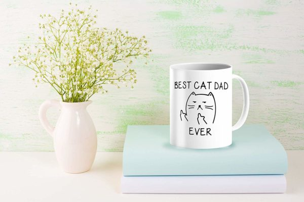 Best Cat Dad EverFunny Cat Lover Gifts Funny Middle Finger Coffee MugUnique Birthday Gift For Dad B079FZ3DHS 7