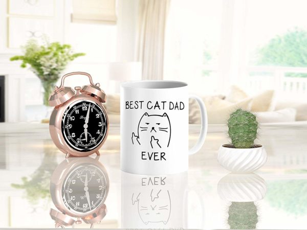Best Cat Dad EverFunny Cat Lover Gifts Funny Middle Finger Coffee MugUnique Birthday Gift For Dad B079FZ3DHS 9