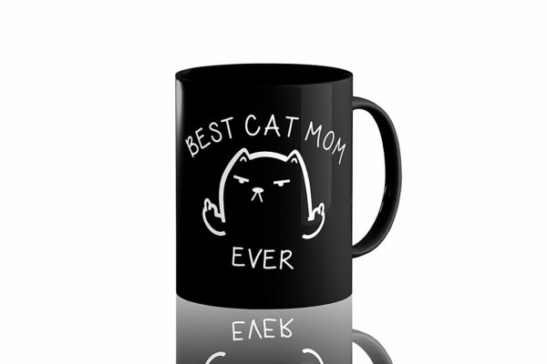 Best Cat Mom Ever Funny Coffee Mug Cat Middle Finger 11 Oz Birthday Gift For MotherMom Or Wife B079FYPL3B