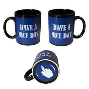 Blue Have A Nice Day Coffee Mug | Middle Finger Funny Cup | 11oz 100% Ceramic Mug