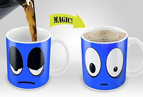 Blue Wake Up Magic Mug | Amazing New Heat Sensitive Color Changing Coffee Mug , Good Unique Gift Idea | 11oz 100% Ceramic Mug