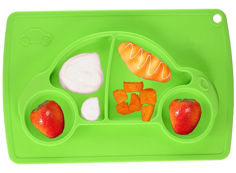 Car Silicone Baby Placemat Square Green B072614XXX 2