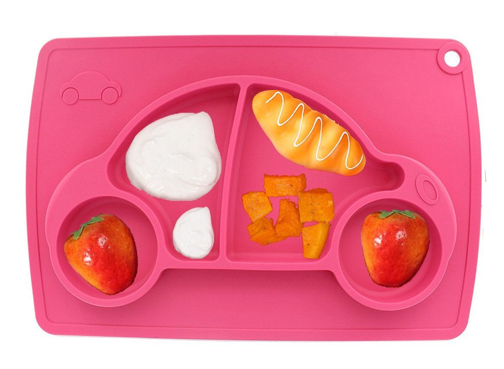 Car Silicone Baby Placemat Square Pink B0723F98XW 2