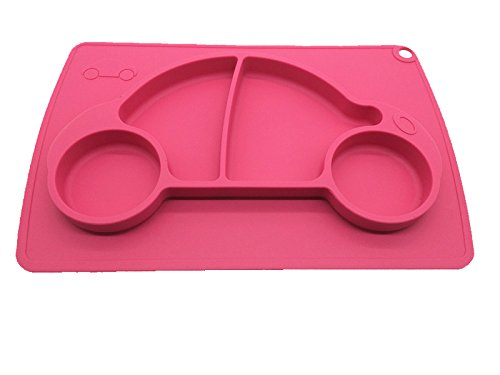 Car Silicone Baby Placemat Square Pink B0723F98XW 3