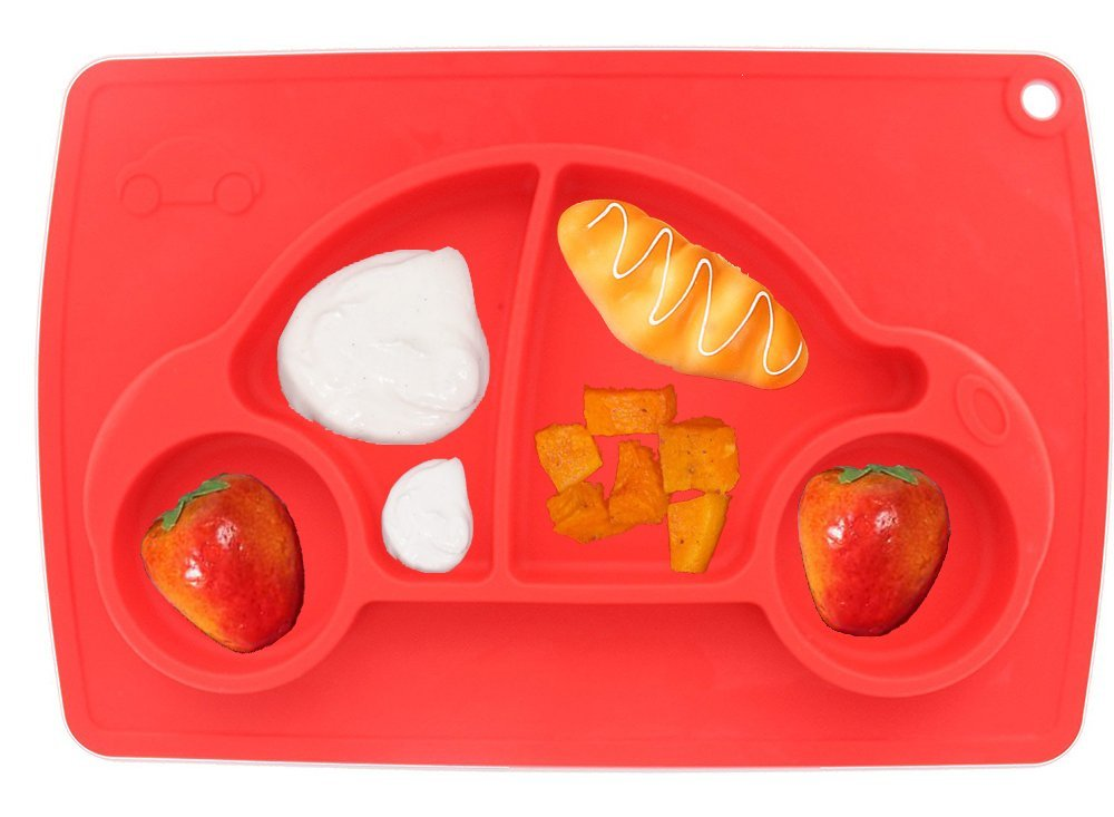 Car Silicone Baby Placemat Square Red B072614VQT 2