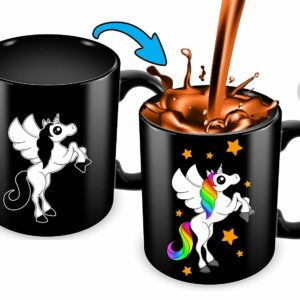 Heat Sensitive Color Changing Coffee Mug | Funny Coffee Cup | Black Unicorn Design | Funny Gift Idea