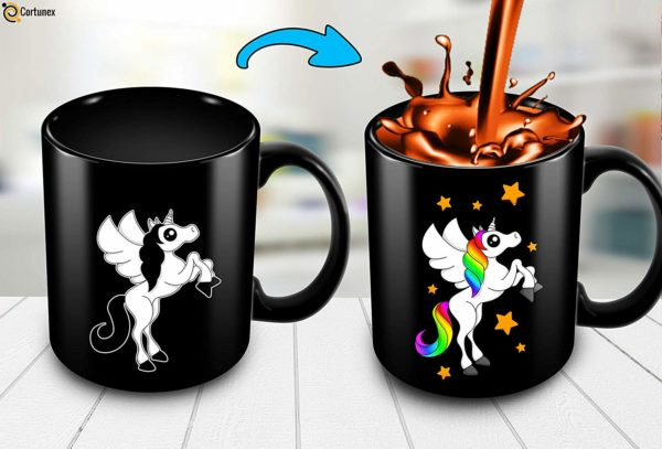 Heat Sensitive Color Changing Coffee Mug Funny Coffee Cup Black Unicorn Design Funny Gift Idea B07D21DSFL 3