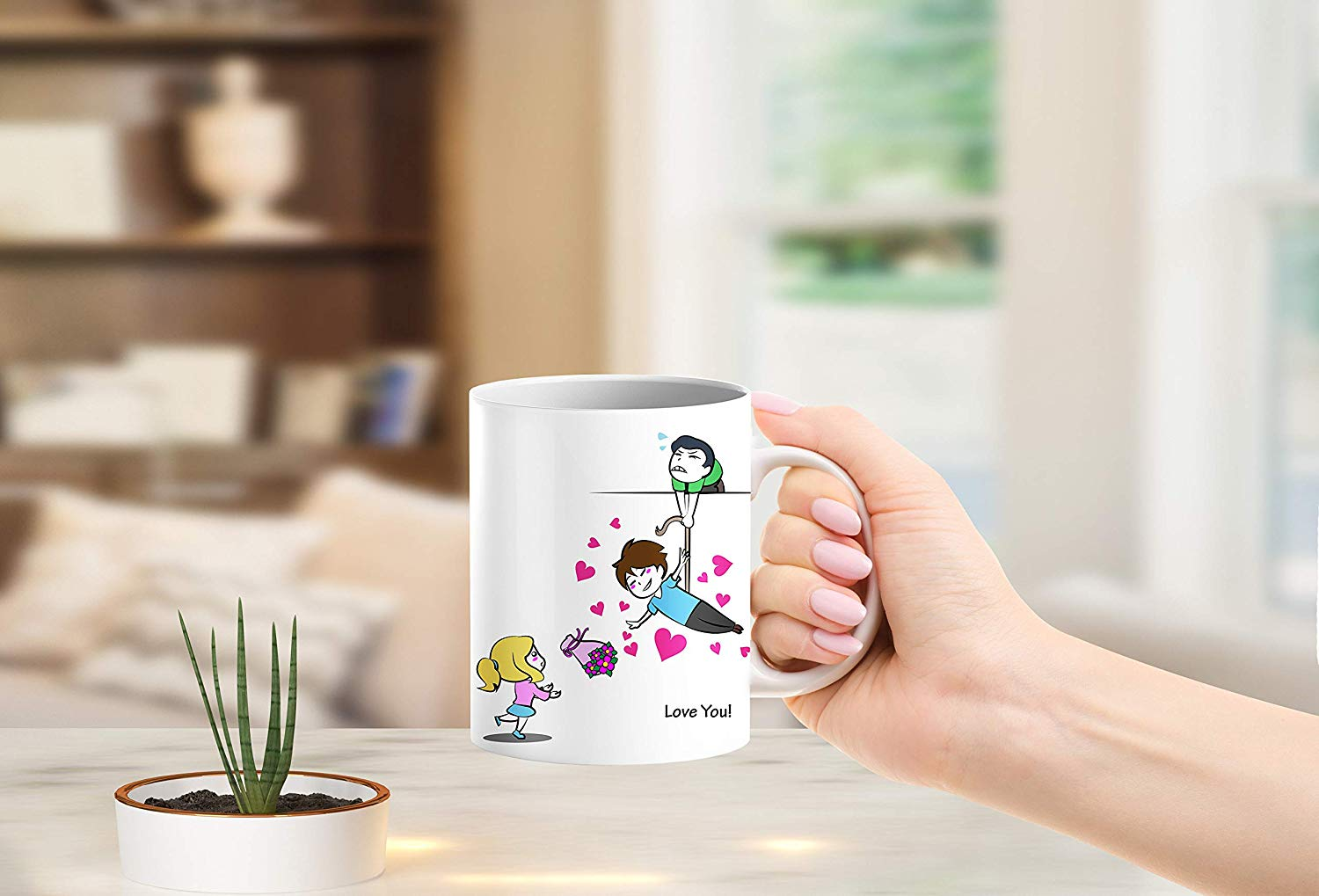 Heat Sensitive Color Changing Coffee Mug Funny Coffee Cup Flying Lovely Cartoon Couple Design Funny Gift Idea B07D21S68R 4
