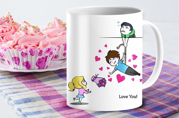 Heat Sensitive Color Changing Coffee Mug Funny Coffee Cup Flying Lovely Cartoon Couple Design Funny Gift Idea B07D21S68R 6