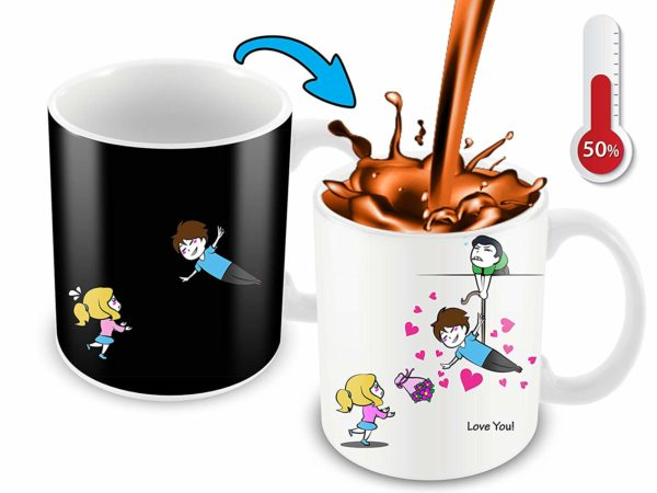 Heat Sensitive Color Changing Coffee Mug Funny Coffee Cup Flying Lovely Cartoon Couple Design Funny Gift Idea B07D21S68R