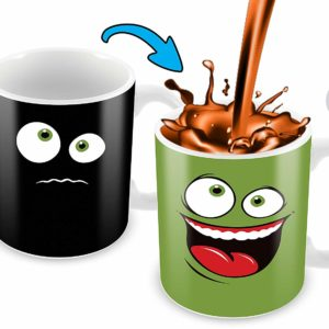 Heat Sensitive Color Changing Coffee Mug | Funny Coffee Cup | Green Happy Funny Face Design | Funny Gift Idea