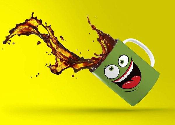 Green Happy Funny Face Magic Mug