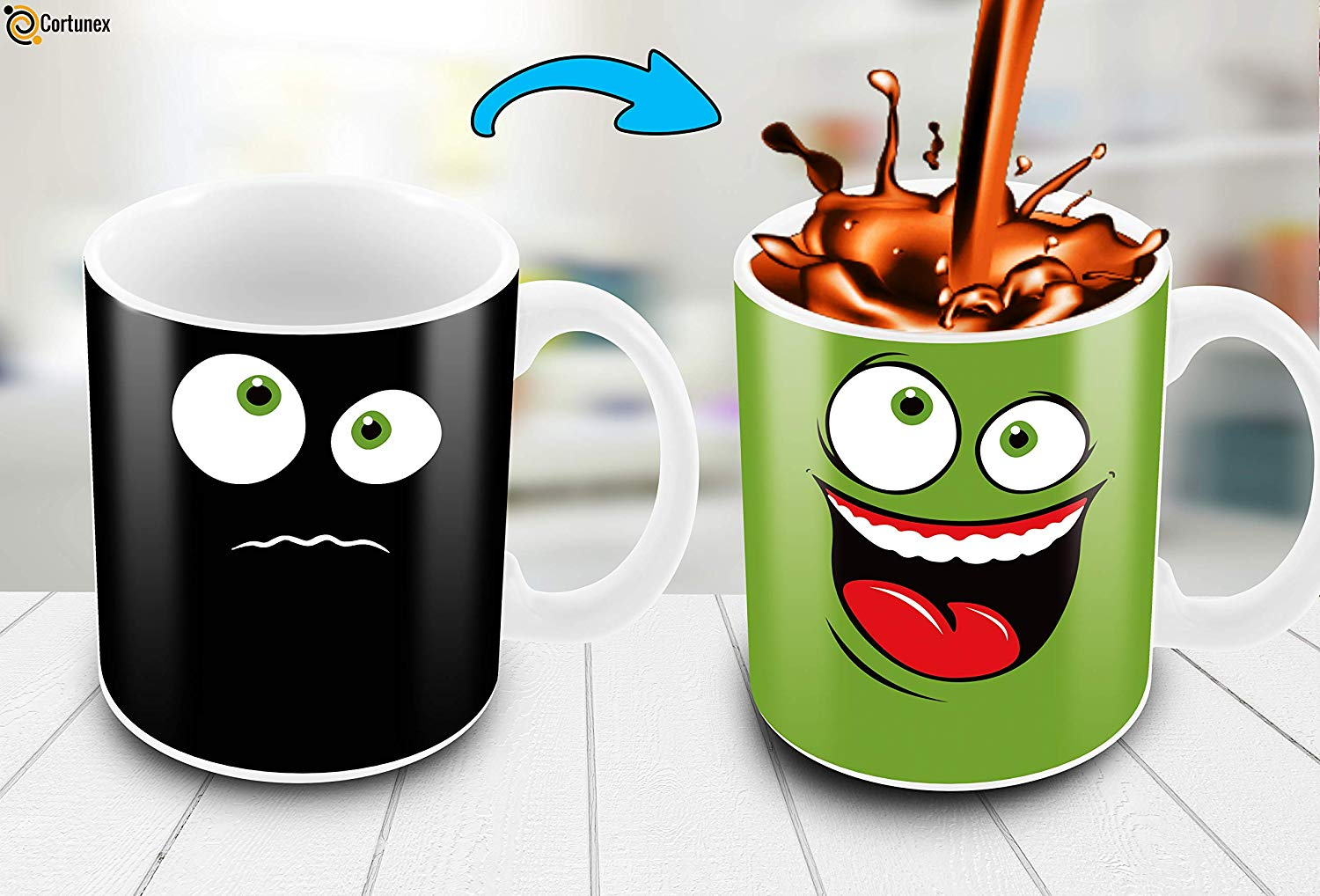 Heat Sensitive Color Changing Coffee Mug Funny Coffee Cup Green Happy Funny Face Design Funny Gift Idea B079FR15QX 3