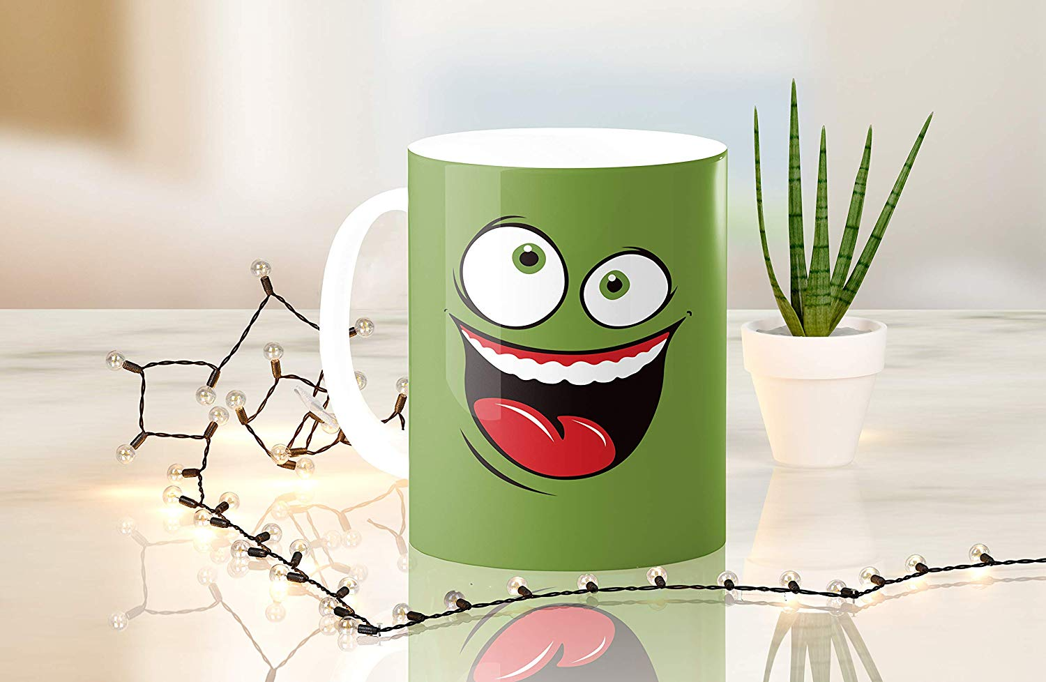Heat Sensitive Color Changing Coffee Mug Funny Coffee Cup Green Happy Funny Face Design Funny Gift Idea B079FR15QX 4