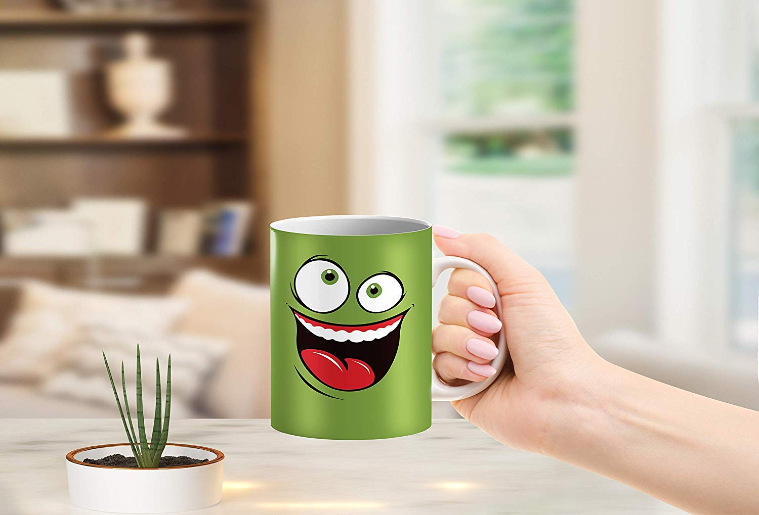 Heat Sensitive Color Changing Coffee Mug Funny Coffee Cup Green Happy Funny Face Design Funny Gift Idea B079FR15QX 6