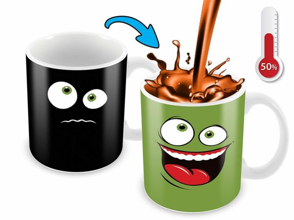 Heat Sensitive Color Changing Coffee Mug Funny Coffee Cup Green Happy Funny Face Design Funny Gift Idea B079FR15QX