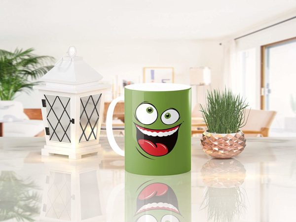 Heat Sensitive Color Changing Coffee Mug Funny Coffee Cup Green Happy Funny Face Design Funny Gift Idea B079FR15QX 7