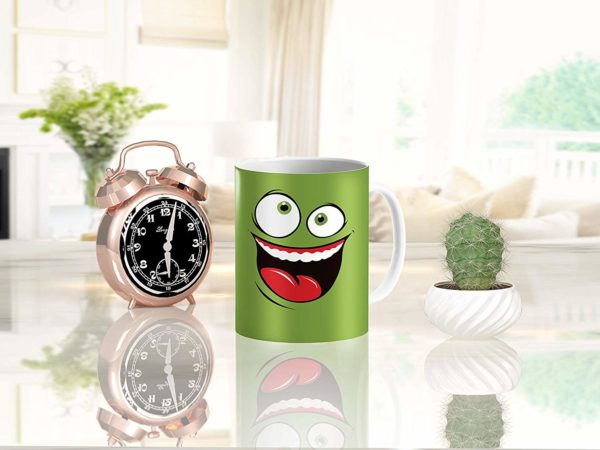 Heat Sensitive Color Changing Coffee Mug Funny Coffee Cup Green Happy Funny Face Design Funny Gift Idea B079FR15QX 9