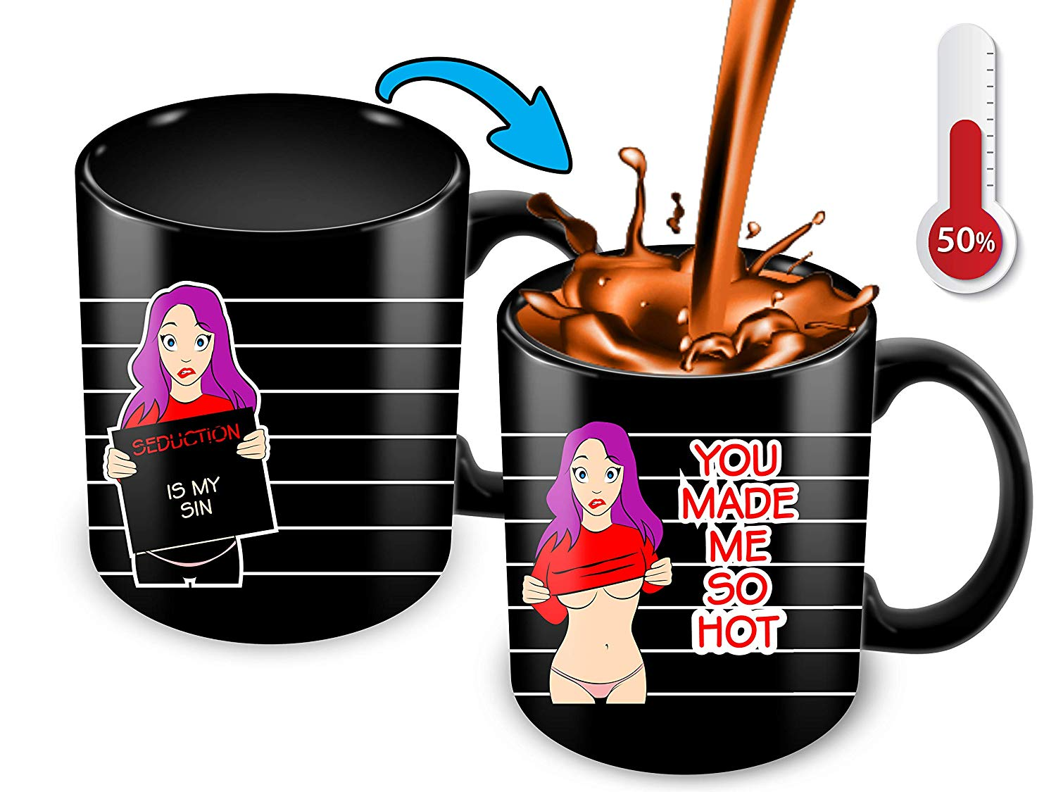 Heat Sensitive Color Changing Coffee Mug Funny Coffee Cup Hot Girl Design Funny Gift Idea B07D21CPTQ
