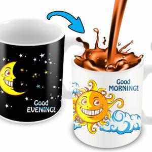 Heat Sensitive Color Changing Coffee Mug | Funny Coffee Cup | Night/Day, Moon/Sun Design | Funny Gift Idea