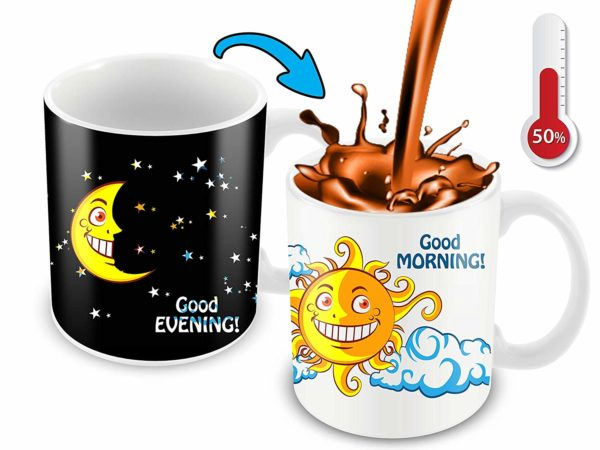 Heat Sensitive Color Changing Coffee Mug Funny Coffee Cup NightDay MoonSun Design Funny Gift Idea B07D223C62