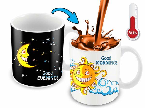 Heat Sensitive Color Changing Coffee Mug Funny Coffee Cup NightDay MoonSun Design Funny Gift Idea B07D223C62