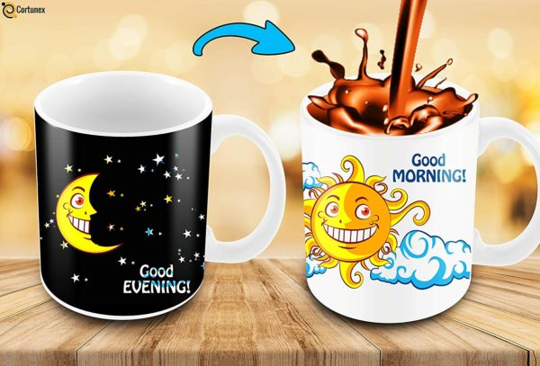 Heat Sensitive Color Changing Coffee Mug Funny Coffee Cup NightDay MoonSun Design Funny Gift Idea B07D223C62 7