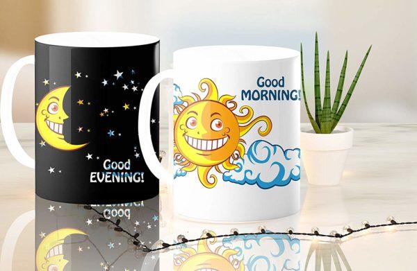 Heat Sensitive Color Changing Coffee Mug Funny Coffee Cup NightDay MoonSun Design Funny Gift Idea B07D223C62 8