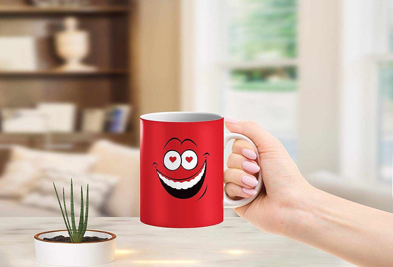 Heat Sensitive Color Changing Coffee Mug Funny Coffee Cup Red Loved Funny Face Design Funny Gift Idea B079FRF6YM 8