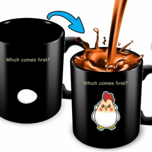 Heat Sensitive Color Changing Coffee Mug | Funny Coffee Cup | Which Comes First The Chicken Or The Egg | Funny Gift Idea