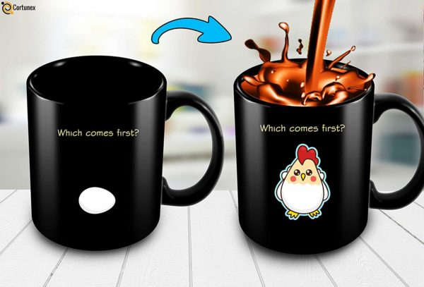 Heat Sensitive Color Changing Coffee Mug Funny Coffee Cup Which Comes First The Chicken Or The Egg Funny Gift Idea B07D1ZSXDJ 3