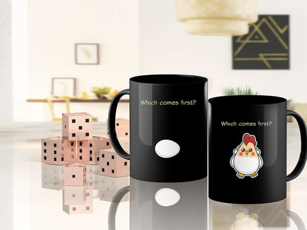 Heat Sensitive Color Changing Coffee Mug Funny Coffee Cup Which Comes First The Chicken Or The Egg Funny Gift Idea B07D1ZSXDJ 4