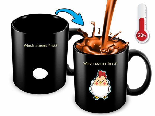 Heat Sensitive Color Changing Coffee Mug Funny Coffee Cup Which Comes First The Chicken Or The Egg Funny Gift Idea B07D1ZSXDJ