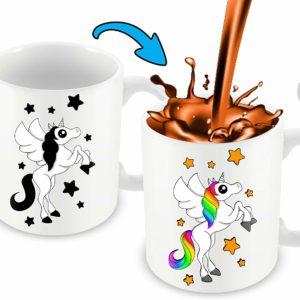 Heat Sensitive Color Changing Coffee Mug | Funny Coffee Cup | White Unicorn Design | Funny Gift Idea