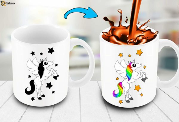 Heat Sensitive Color Changing Coffee Mug Funny Coffee Cup White Unicorn Design Funny Gift Idea B07D21VPWS 3