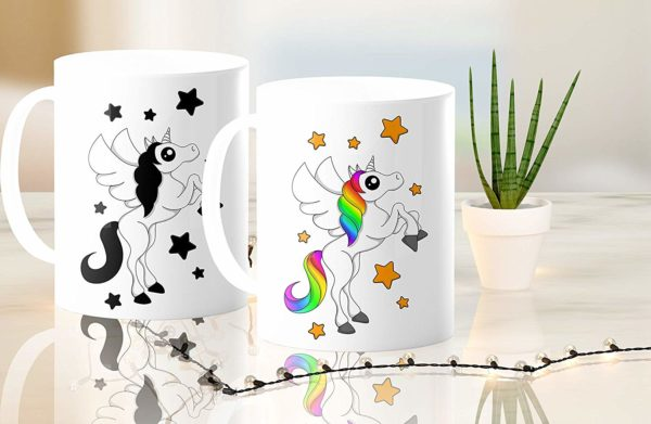 Heat Sensitive Color Changing Coffee Mug Funny Coffee Cup White Unicorn Design Funny Gift Idea B07D21VPWS 4