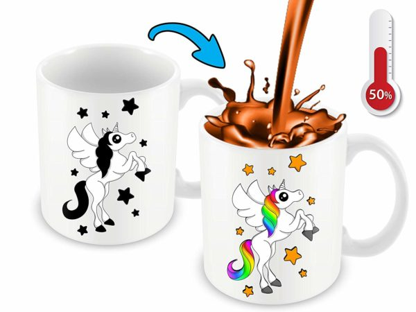 Heat Sensitive Color Changing Coffee Mug Funny Coffee Cup White Unicorn Design Funny Gift Idea B07D21VPWS