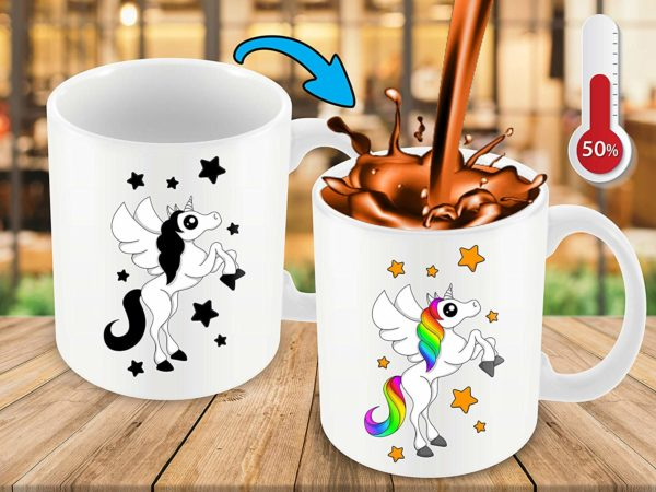 Heat Sensitive Color Changing Coffee Mug Funny Coffee Cup White Unicorn Design Funny Gift Idea B07D21VPWS 9