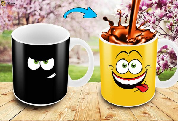 Yellow Drunk Funny Face Magic Coffee Mug