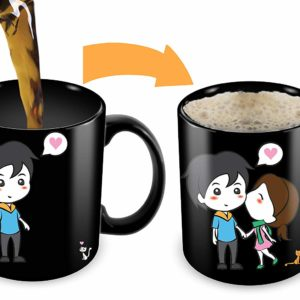 Heat Sensitive Mug | Color Changing Coffee Mug | Funny Coffee Cup | Lovely Cartoon Couples Design | Birthday Gift Idea For Him Or Her, Mother' Gift For Mom And Father's Day Gift