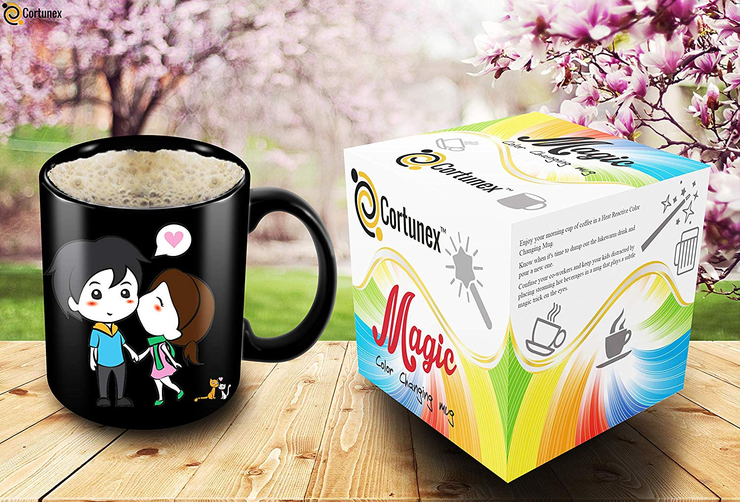 Heat Sensitive Mug Color Changing Coffee Mug Funny Coffee Cup Lovely Cartoon Couples Design Birthday Gift Idea F B07D21XCT3 3