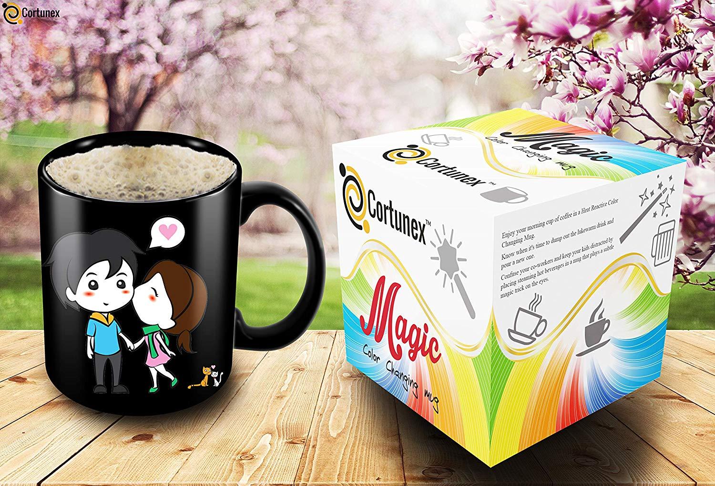 Heat Sensitive Mug Color Changing Coffee Mug Funny Coffee Cup Lovely Cartoon Couples Design Birthday Gift Idea F B07D21XCT3 3