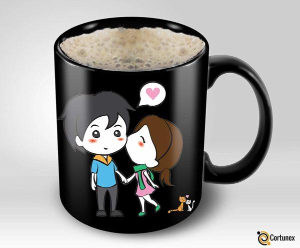 Heat Sensitive Mug Color Changing Coffee Mug Funny Coffee Cup Lovely Cartoon Couples Design Birthday Gift Idea F B07D21XCT3 4