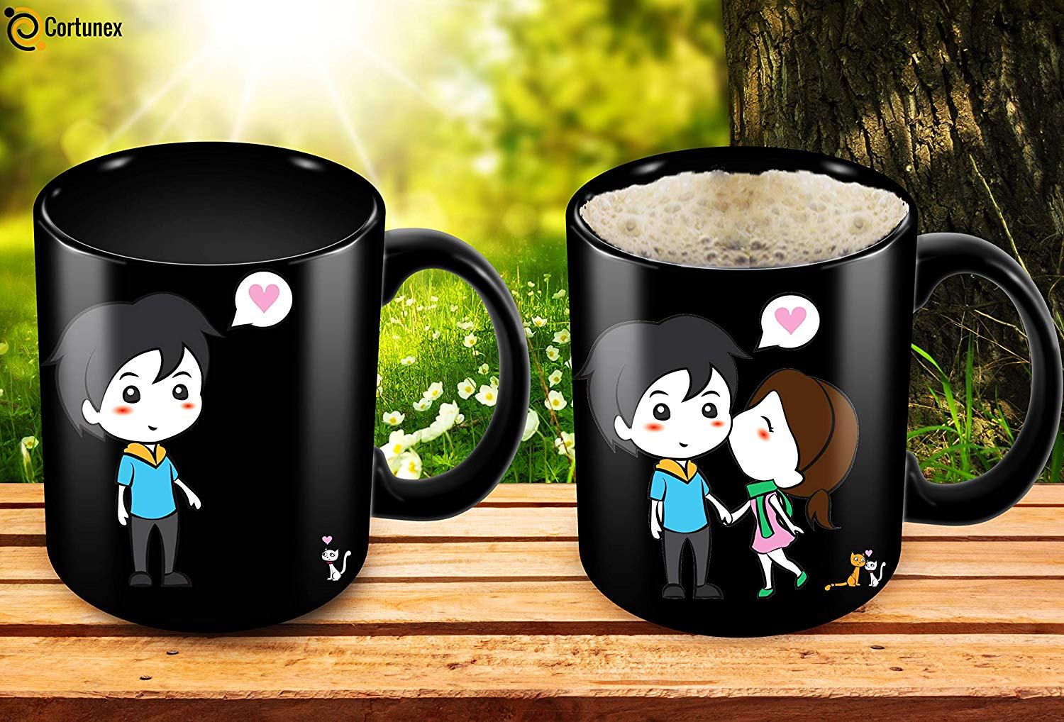 Heat Sensitive Mug Color Changing Coffee Mug Funny Coffee Cup Lovely Cartoon Couples Design Birthday Gift Idea F B07D21XCT3 5