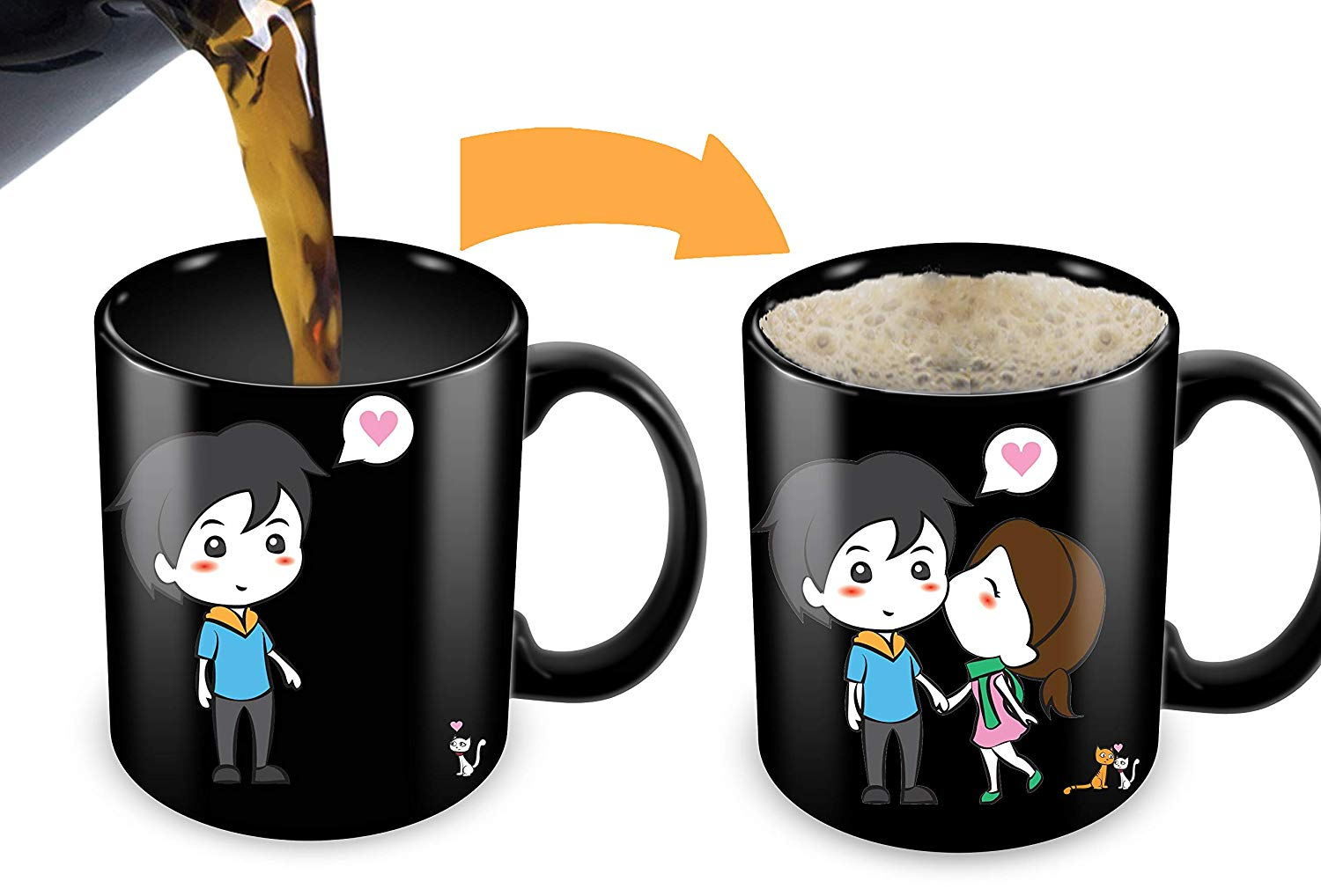 Heat Sensitive Mug Color Changing Coffee Funny Cup Lovely Cartoon Couples Design Birthday Gift