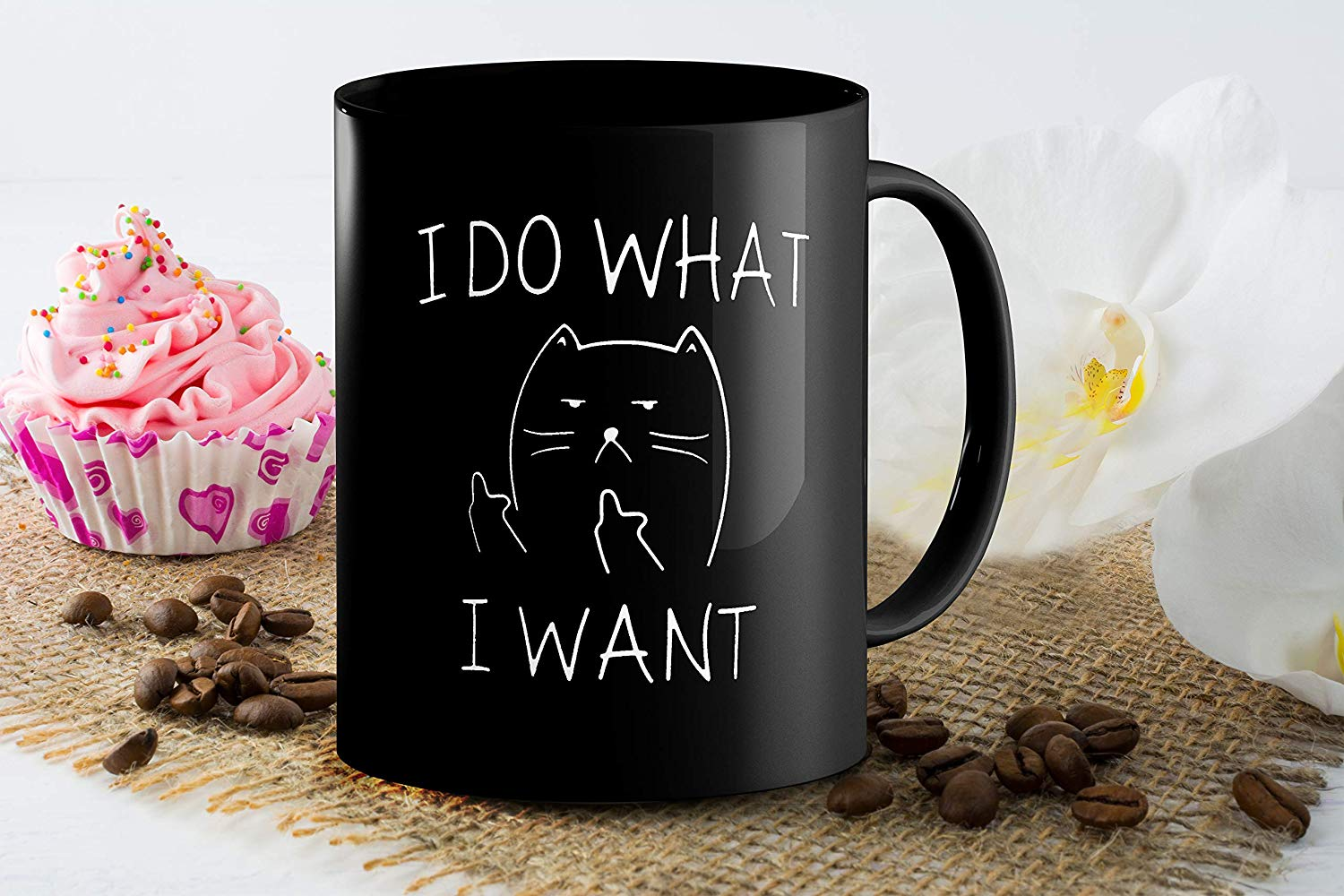 I Do What I Want Funny Coffee Mug Cat Middle Finger 11 Oz Birthday Gift For Men Women Him Or Her B079FSTVY3 4