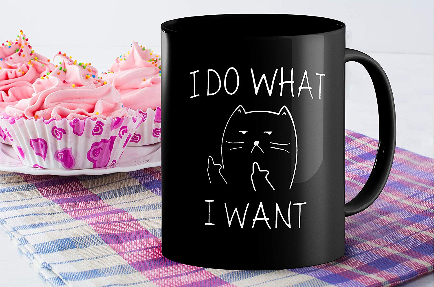 I Do What I Want Funny Coffee Mug Cat Middle Finger 11 Oz Birthday Gift For Men Women Him Or Her B079FSTVY3 6